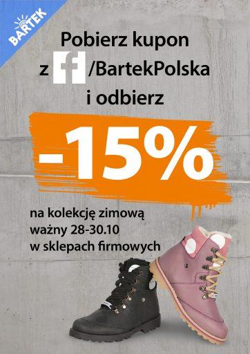 Tylko w weekend 15% na obuwie zimowe BARTEK