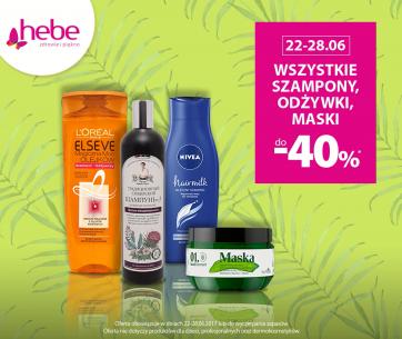 Wszystkie szampony, odżywki i maski do -40% w Hebe