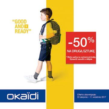 OKAIDI  wraca do szkoły. -50% na drugi produkt.