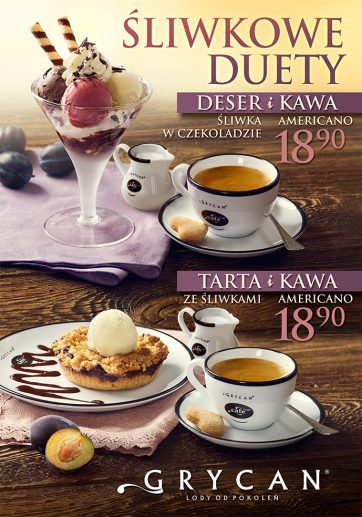 Śliwkowe Duety w lodziarnio-kawiarniach GRYCAN