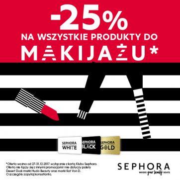 SEPHORA – Sylwestrowe szaleństwo! Produkty do makijażu aż 25% taniej*!