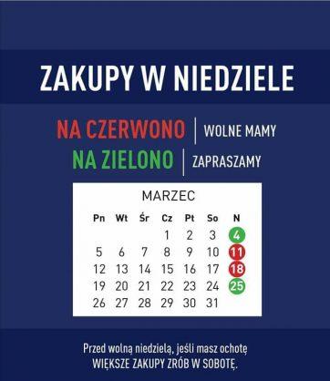 Kalendarz niedziel handlowych w Carrefour!
