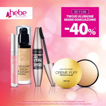 Twoje ulubione marki makijażowe -40%* w Hebe