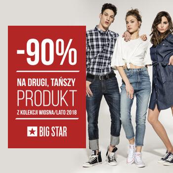 -90% na drugi tańszy produkt kolekcji SS18 w BIG STAR