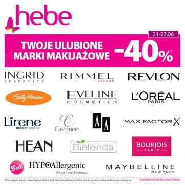 Twoje ulubione marki makijażowe – 40% * w Hebe!