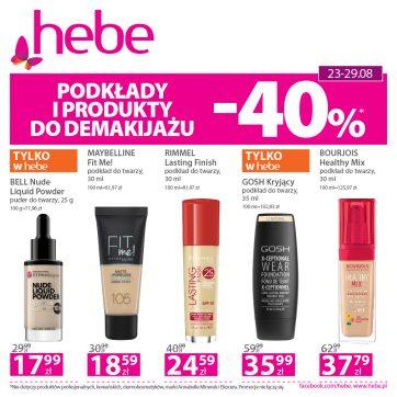Podkłady i produkty do demakijażu – 40% w Hebe