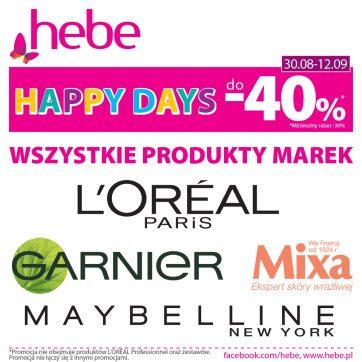 Happy Days- produkty wybranych marek do-40% w Hebe!
