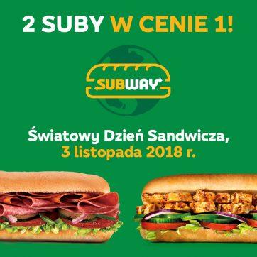 Światowy Dzień Sandwicza w restauracjach Subway®: kup jednego suba, drugi gratis!