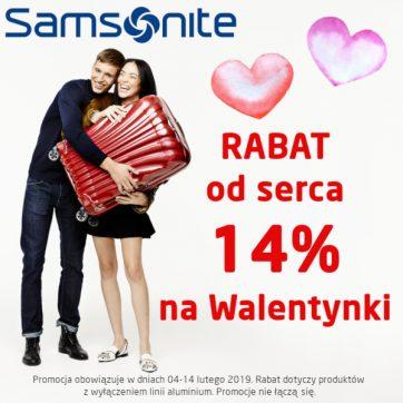 W salonach Samsonite – rabat od serca na Walentynki: 14%
