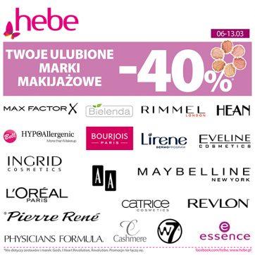 Twoje ulubione marki makijażowe -40% w Hebe