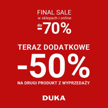 50% zniżki na drugi produkt z wyprzedażyw DUKA
