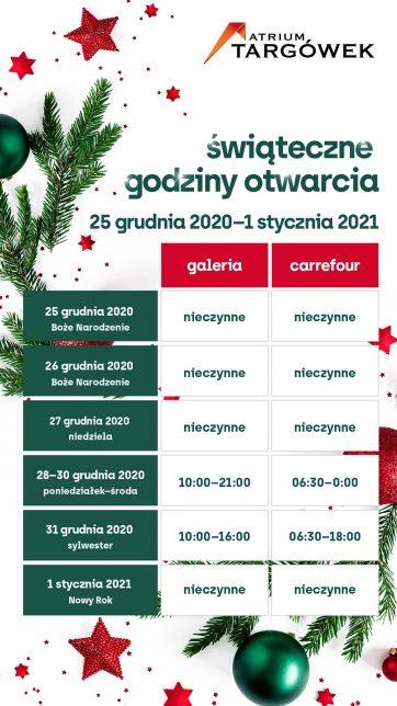Nowe godziny otwarcia w okresie świątecznym 25 grudnia – 1 stycznia 2021